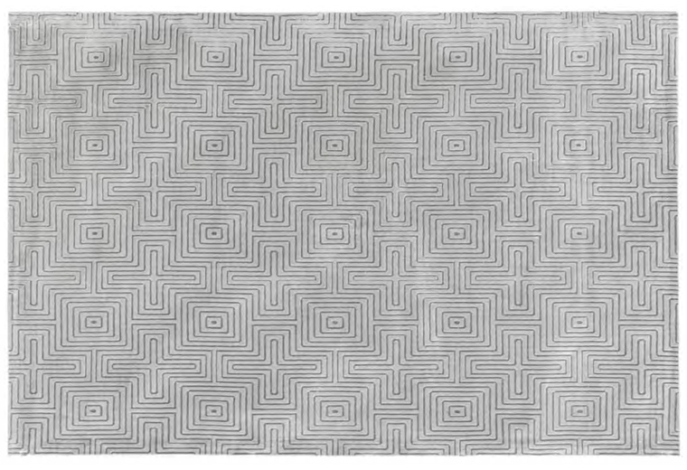 Vintage-Teppich Labyrinth dunkel-silber