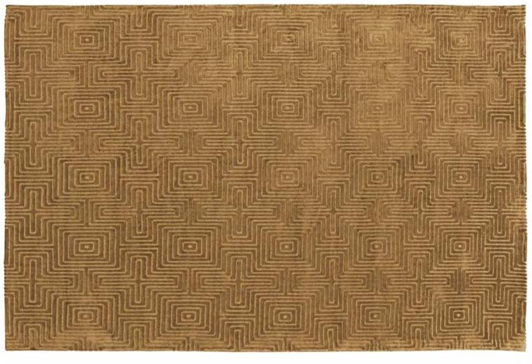 Vintage-Teppich Labyrinth gelb