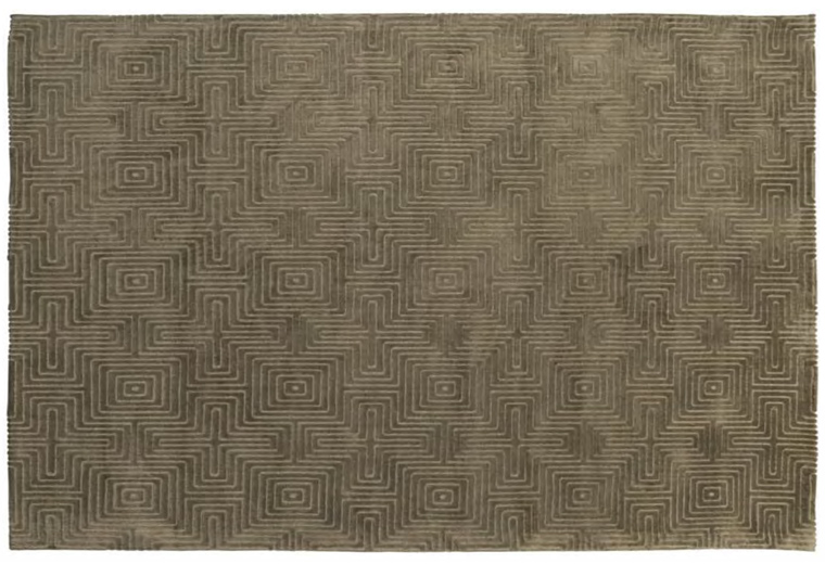 Vintage-Teppich Labyrinth grün